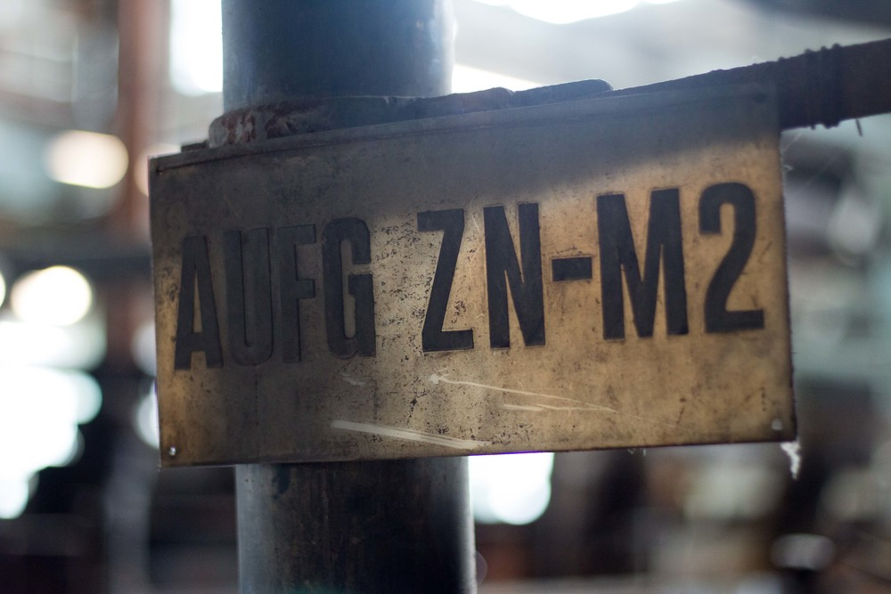 Sign indicating the zinc flotation tubs