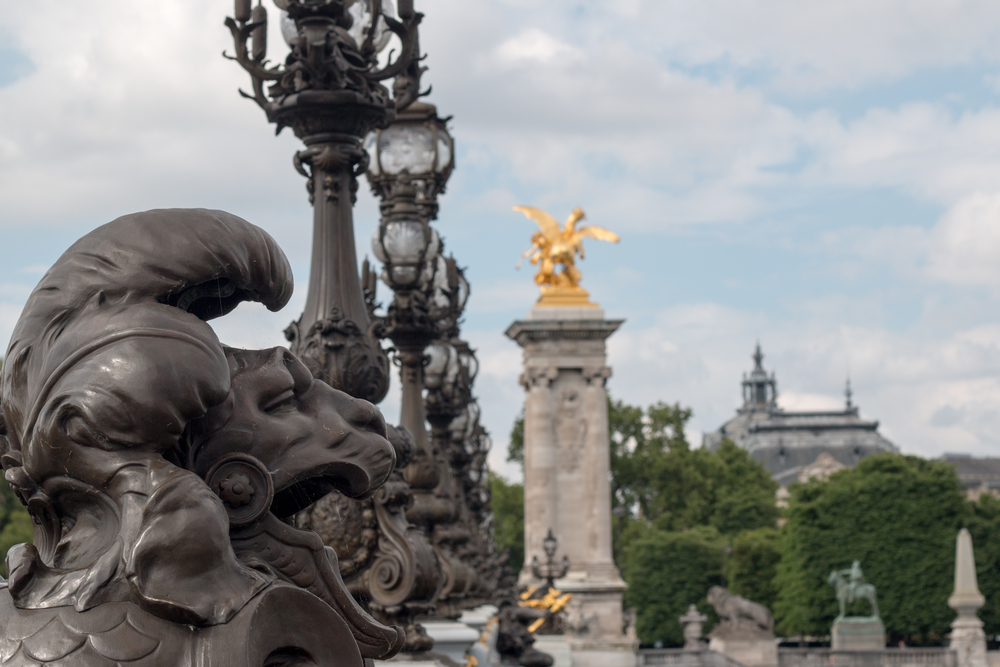 Lion on the Pont Alexandre III Bridge in Paris