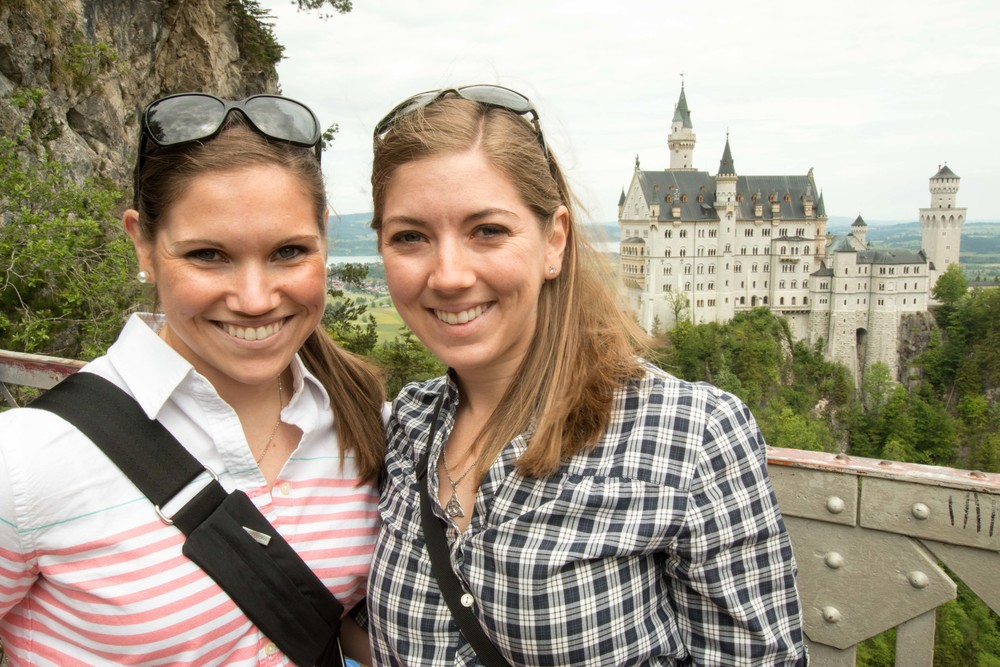 Sisters in front of Neuschwanstein