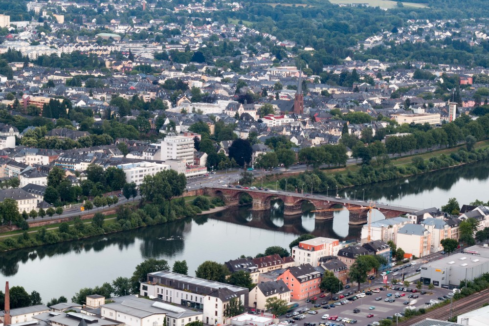View of the city of trier. The bridge is one of the oldest bridges crossed by traffic north of the Alps and dates from the Roman times.
