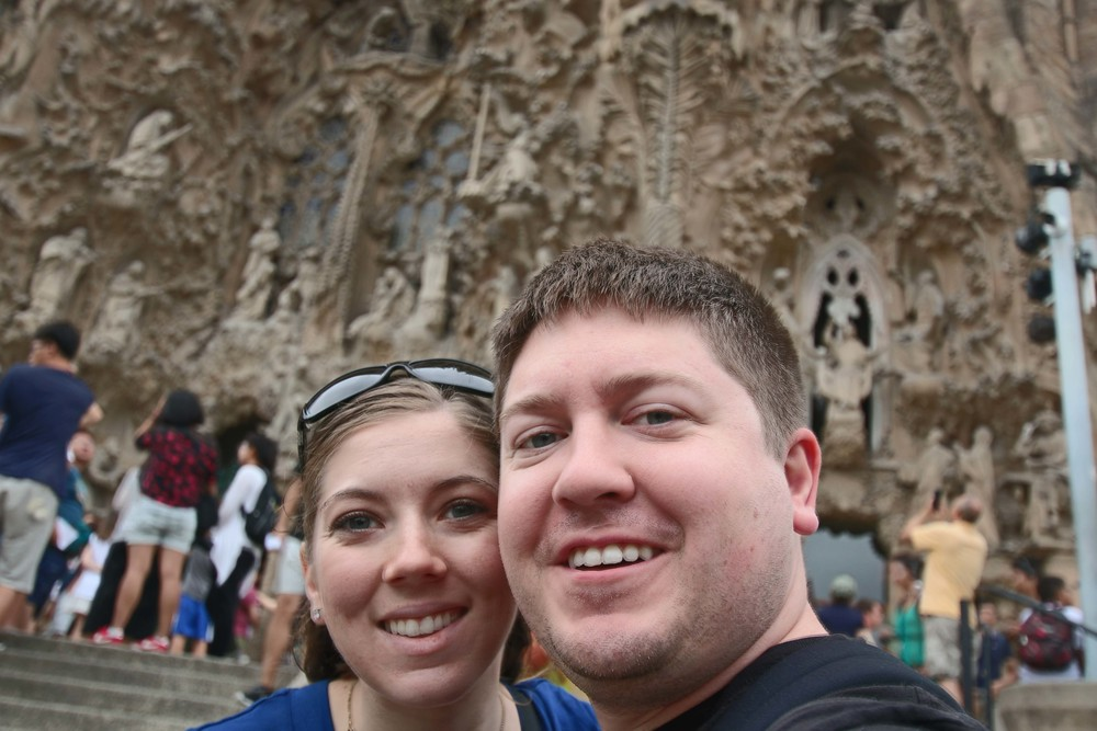 selfie in front of the nativity facade