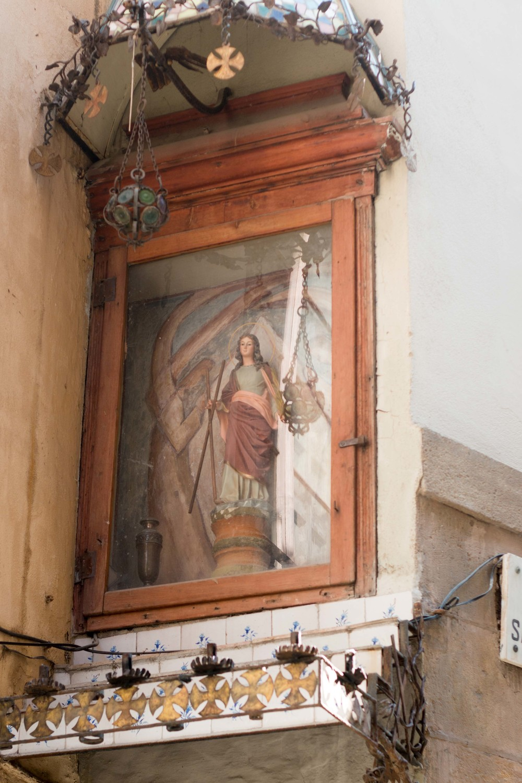 statue of Santa Eulalia on Baixada Santa Eulalia