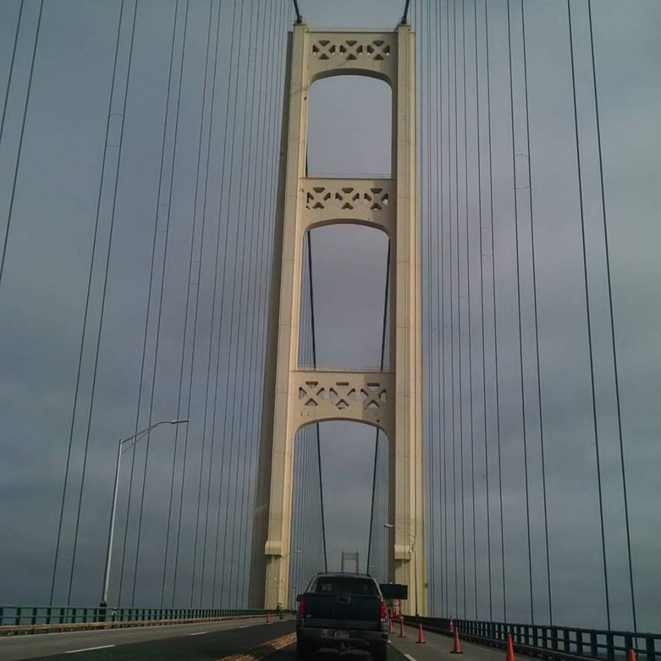 Somehow, this is the only picture of the BRidge that I have, and because we were driving, it's crooked.