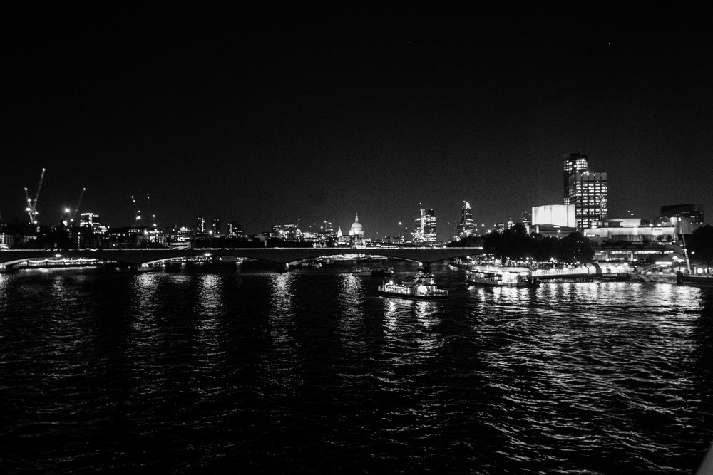 London at night along the Thames