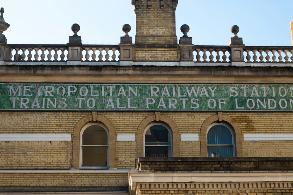 original facade on the Gloucester Road Underground Station, first opened in 1868