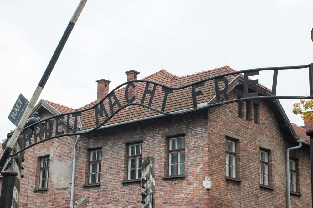 ''Freedom through work'' Entrance to Auschwitz