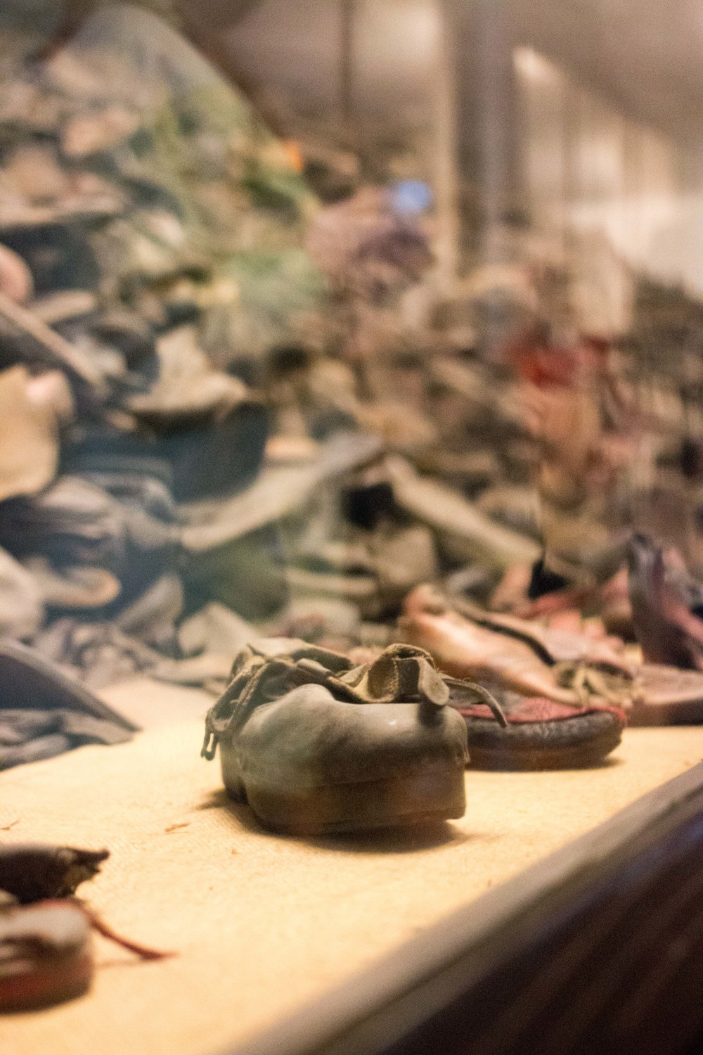 Piles of shoes from the prisoners and victims