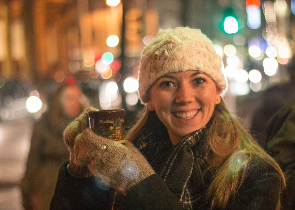 enjoying my first mug of glühwein last year!