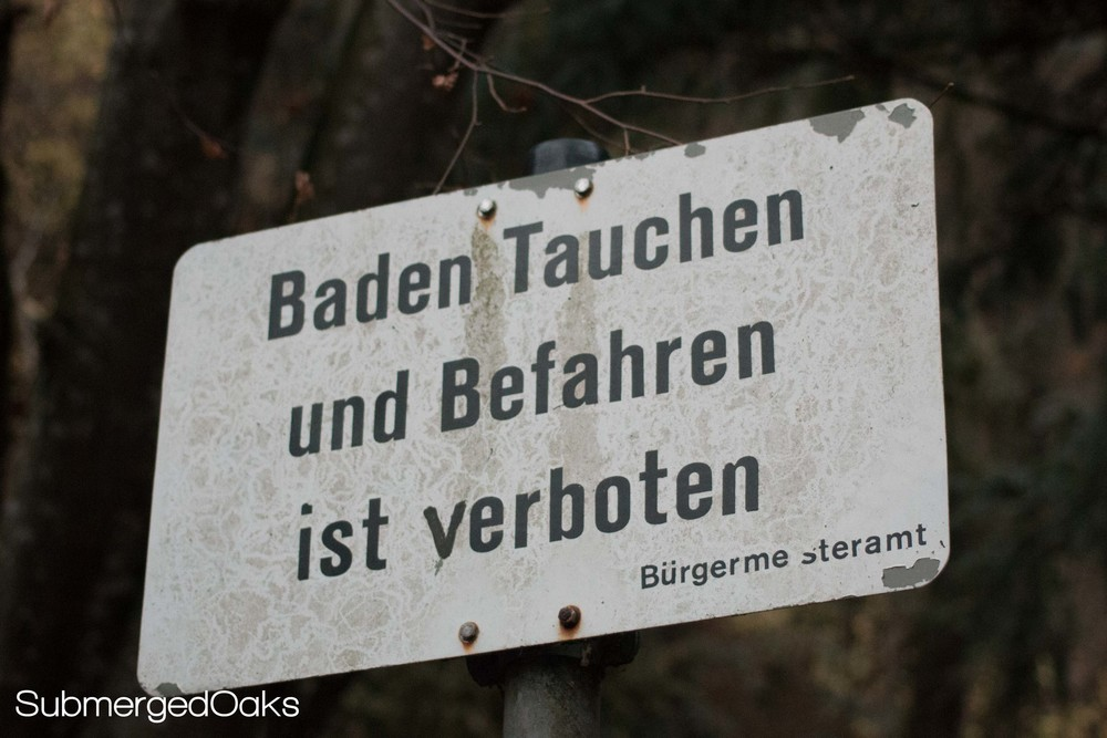 Bathing, diving and boating are forbidden in Blautopf. Sad day.