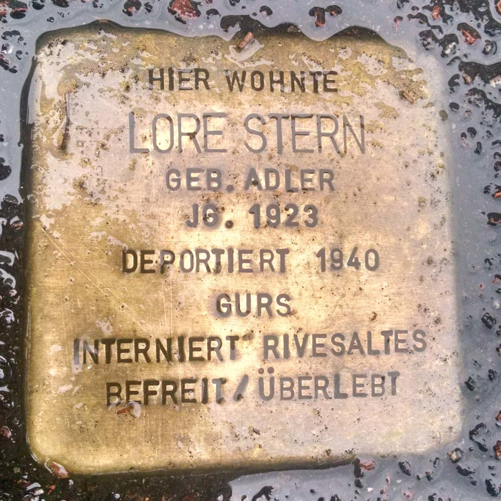 ''Here lived Lore Stern Born Adler year 1923. Deported 1940. Interned Riversaltes (in France). freed/Survived.''