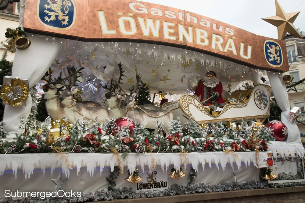 elaborate santa and sleigh set up outside the Löwenbräu restaurant in Baden Baden