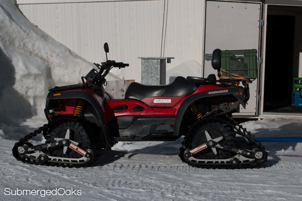 Four wheeler with mat tracks, 'cause the Swiss don't mess around!