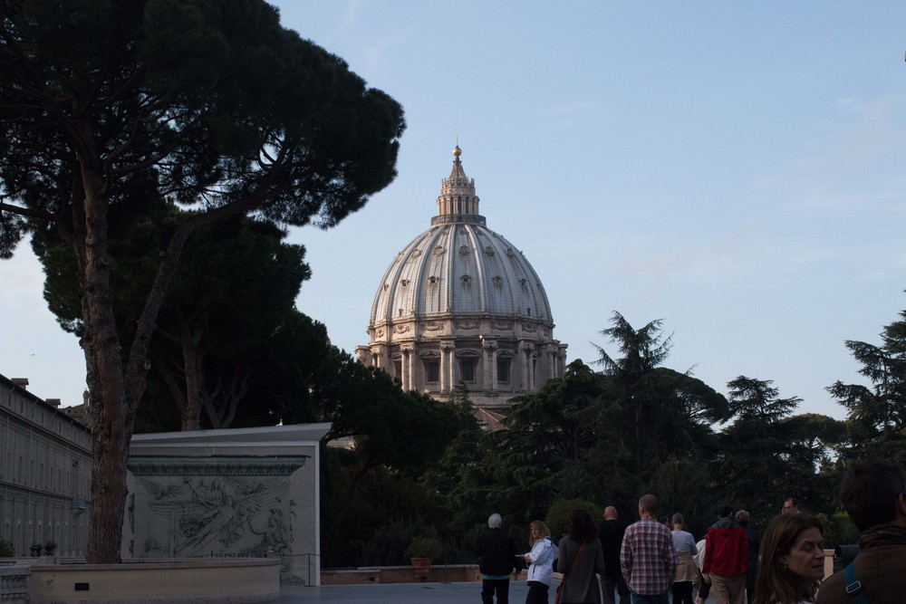 View of St. Peter's Dome from the promenade at the Vatican Museums