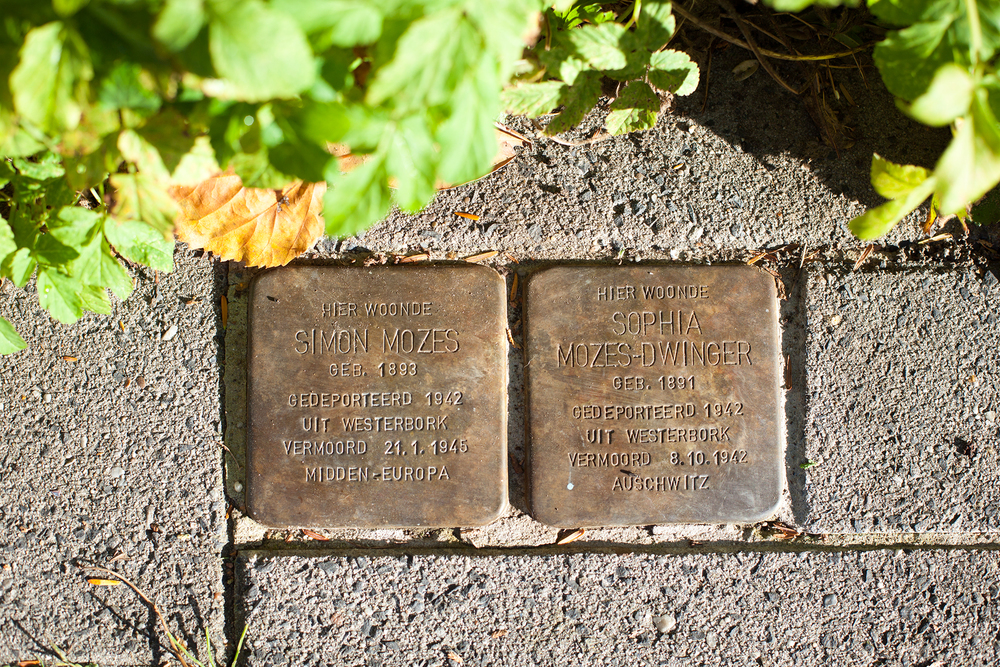 Assen. ATOLPERSTEIN FOR A MARRIED COUPLE DEPORTED IN 1942 FROM ASSEN, THE NETHERLANDS, FIRST TO WESTERBORK AND THEN TO AUSCHWITZ, WHERE THEY WERE LATER MURDERED. IMAGE COURTESY OF SARAH HUGGARD PHOTOGRAPHY