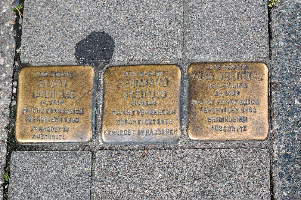 Mannheim. A couple and their son fled first to France before being deported. Eugen and Rosa were deported and murdered in 1943 at Auschwitz. Their son was deported and murdered in 1943 at Hajdanek.