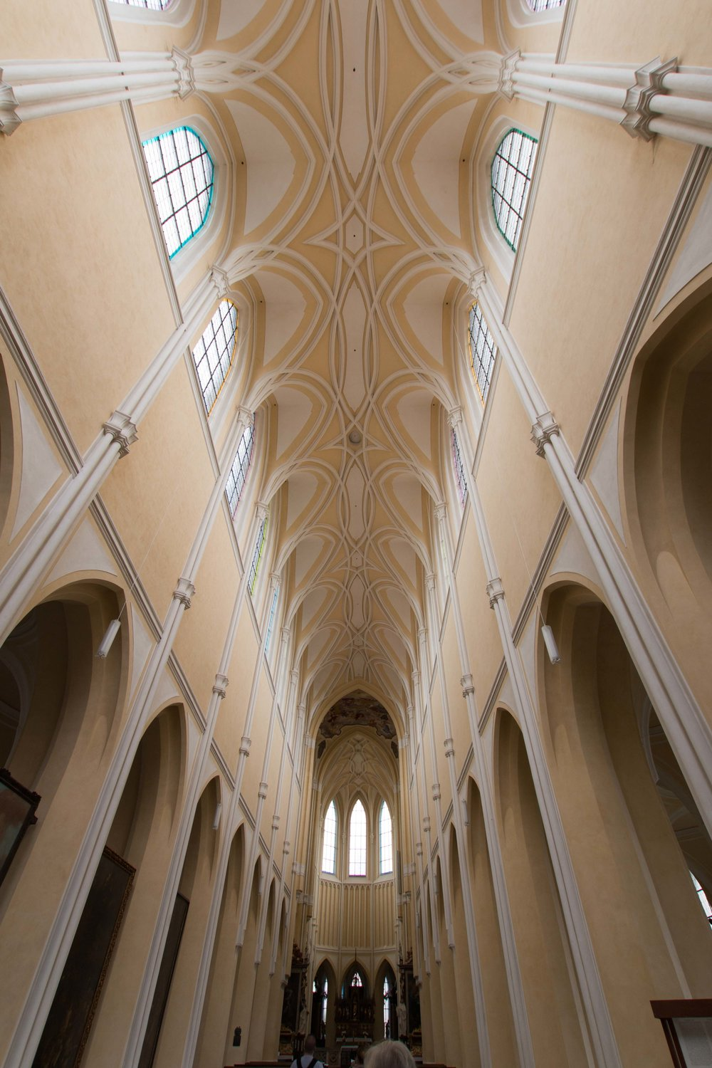 The long nave of the church