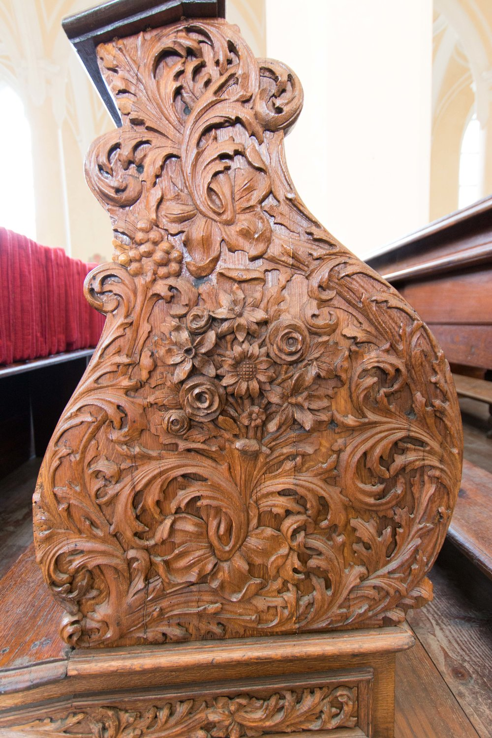 Beautiful carving on the pew ends
