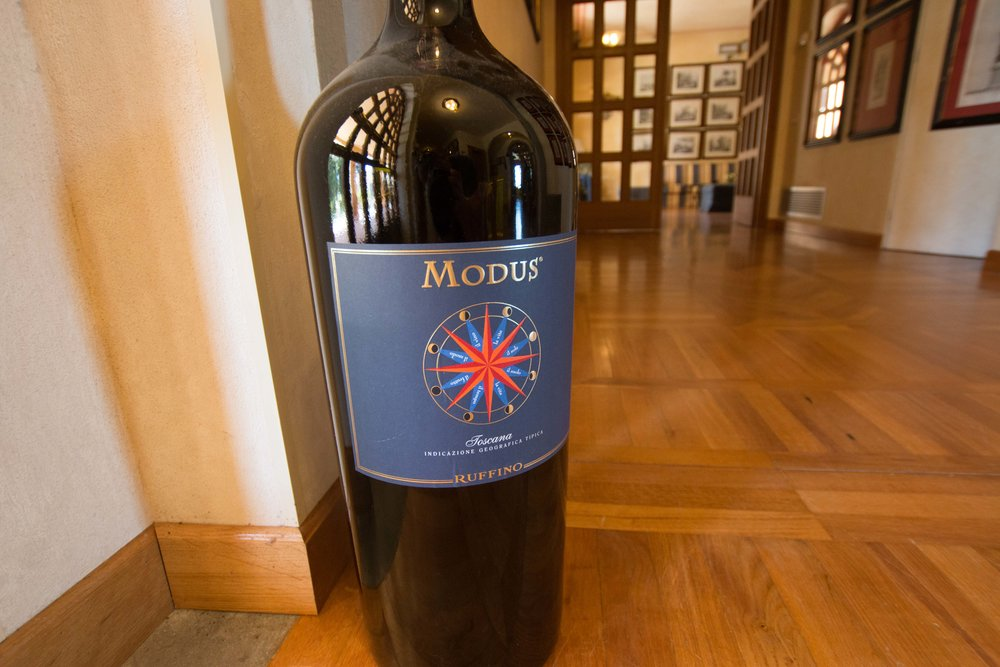 Bottle of ruffino wine in the gallery