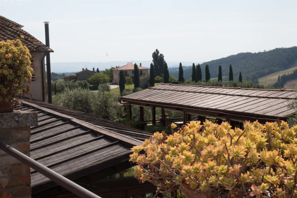 View overlooking the breakfast terrace at Fattoria Voltrona