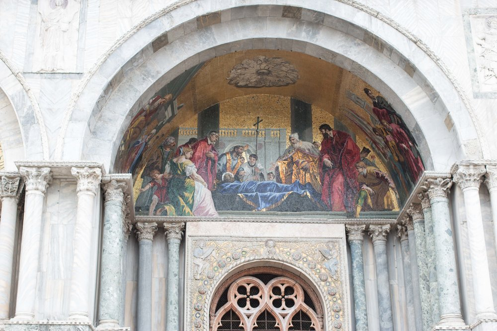 Tile fresco on the facade of St. Mark's
