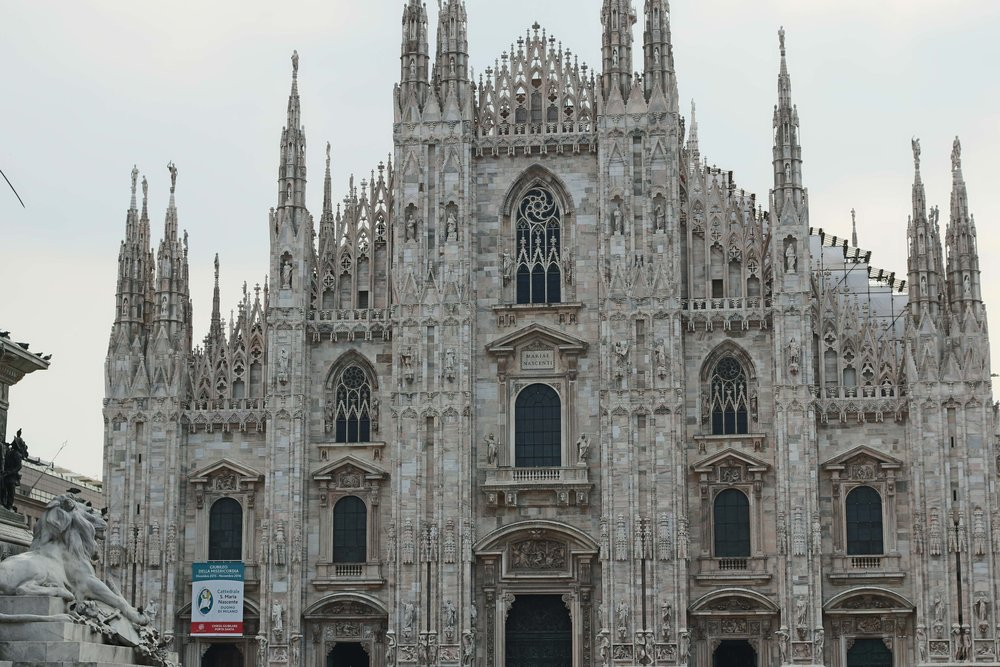 Front of the Milan Cathedral - look at all that carving!!