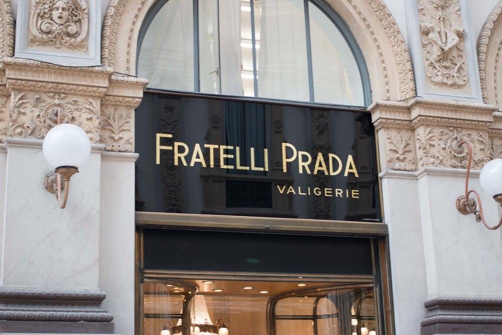 Prada Storefront in the Galleria in Milan, Italy