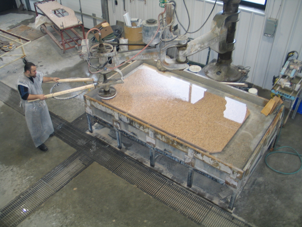 A slab being polished in our 8,000 square foot facility.