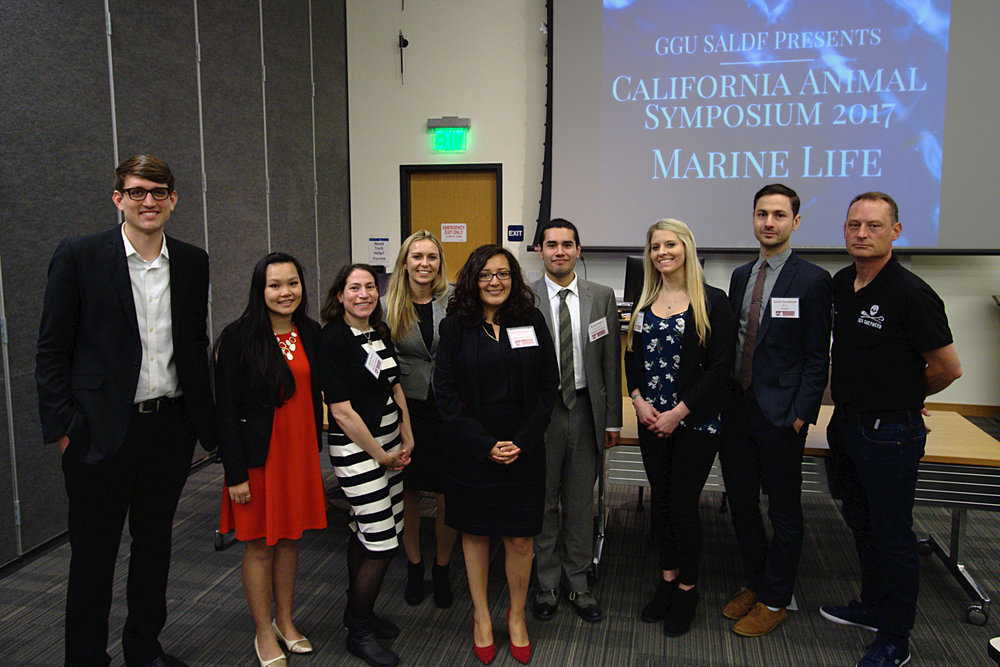 Photo of panelists and organizers for the 2017 Symposium.  Left to right: Chris Berry, Venus Ho, Sara Dudley, Tara Cooley, Catherine Campoverde, Kevin Buiza, Kelly Levenda, Jared Goodman, and David Hance.