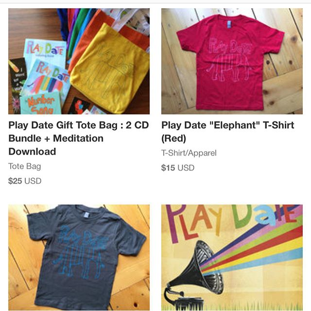 Online store is restocked with some #PlayDate goodness.  In addition to sharing your presence with loved ones this holiday season... can we interest you in a CD Bundle Gift Tote or a T-shirt?! 🤷🏻‍♀️😁 Sending love and loads of Cheers your way. 🙌🏽 Link in Bio.  #supportindependentartists #family #music #holidayshoppers