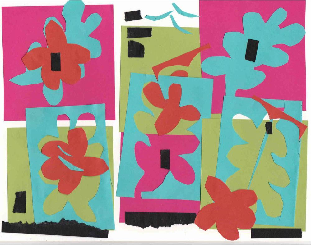 My riff on Matisse, demonstrating paper tearing and cutting to a group of grade school students.