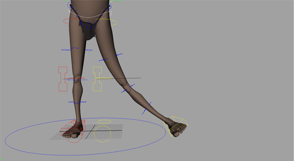 Leg Deformation. The legs contain extra deformation controls that can be used to create pleasing arcs and bends in the legs. The knee can be placed in any position that simple FK or IK controls may not be able to achieve. The deformation controls work in both FK and IK.
