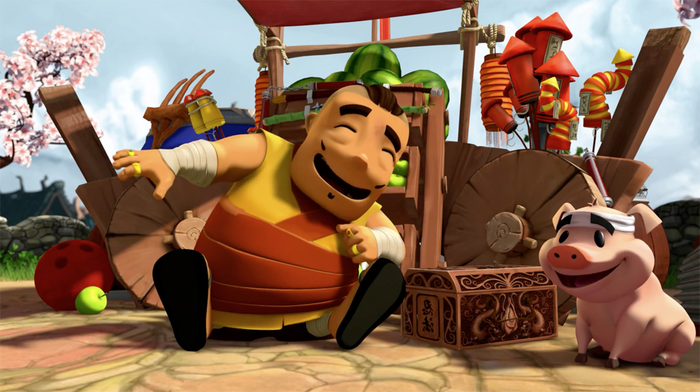 Project:  Fruit Ninja.   Responsible for:  Character animation on the Gutso and pig characters but not that of the old man.