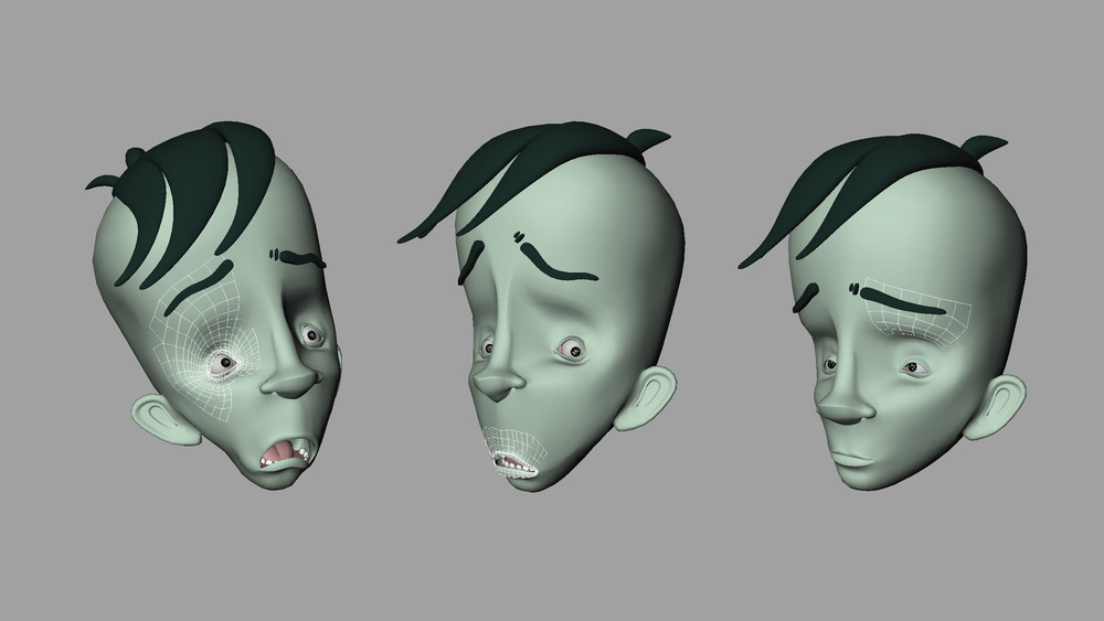 The character mesh is divided into selectable controller chunks for different areas which control the deformation of the face.