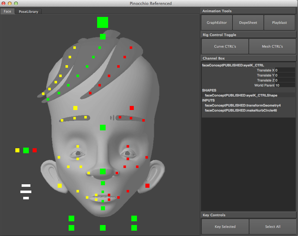To help aid the animator I created a GUI which can be used to select the parts of the face and shows the animator what can be selected. There are also shortcut buttons to bring up animation tools such the graph editor, dope sheet and the playblast window. All of this aids in creating a clean workspace that is just animator and character.
