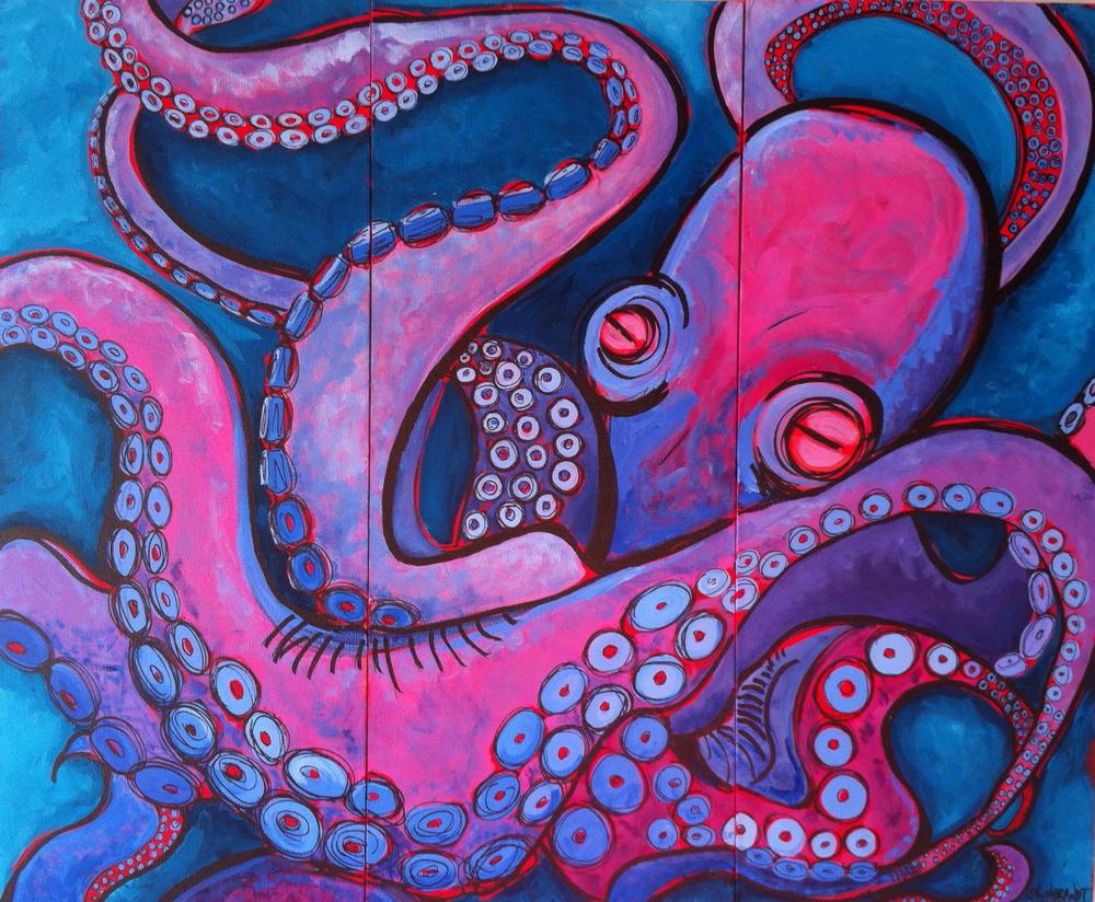 """""""Sucker"""" 2013; Triptych 36x48 Sold"""