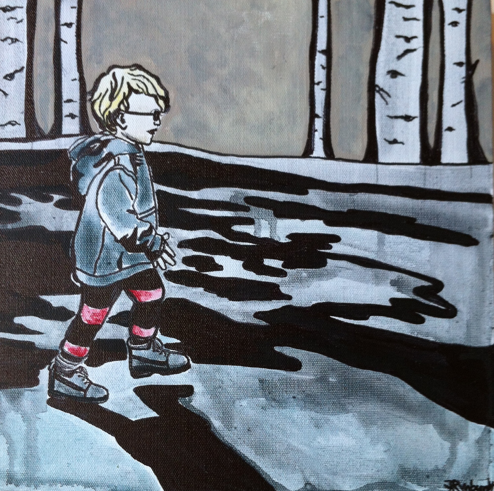 """Max (Spring Puddles)"" 2012 12x12 Watermedia on Canvas NFS"