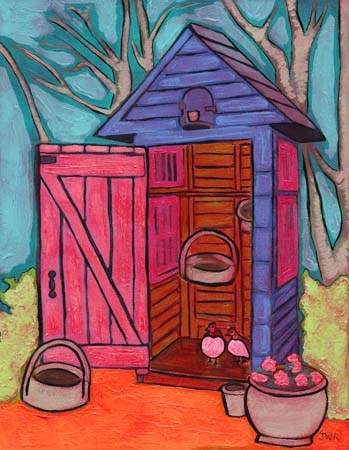 """Outhouse Chicken Coop"" 2006 11x14 Barnwood Frame SALE"