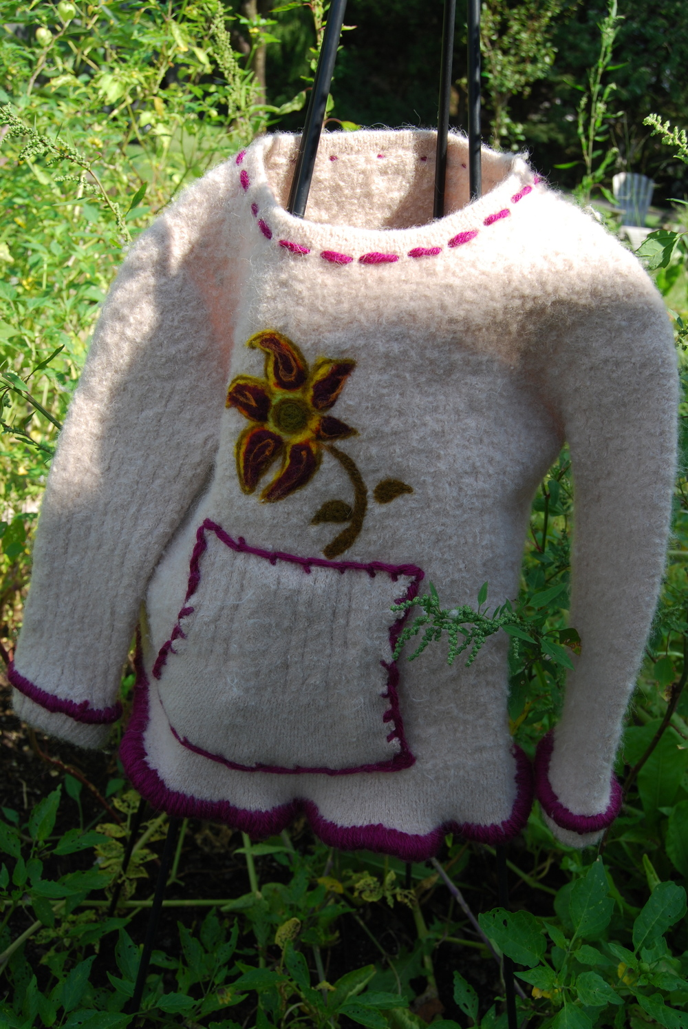 Needle Felted Boiled Alpaca. Girls 3-5. Handwarmer Pocket. $125