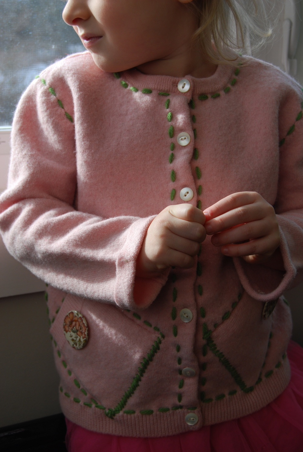 Boiled wool Pullover Cardi; Handmade Fireclay Buttons. Girls 3-5 $60