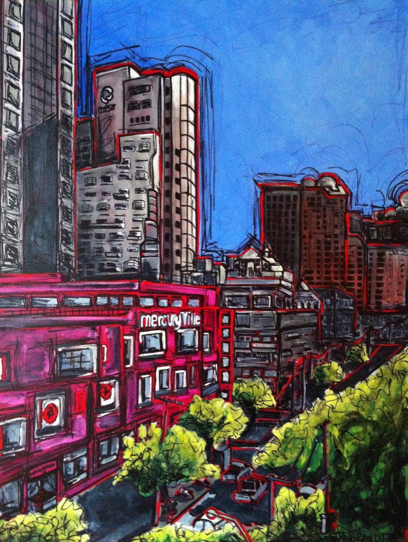 """Mercury Ville Building, Bangkok"" 2014 30x40"