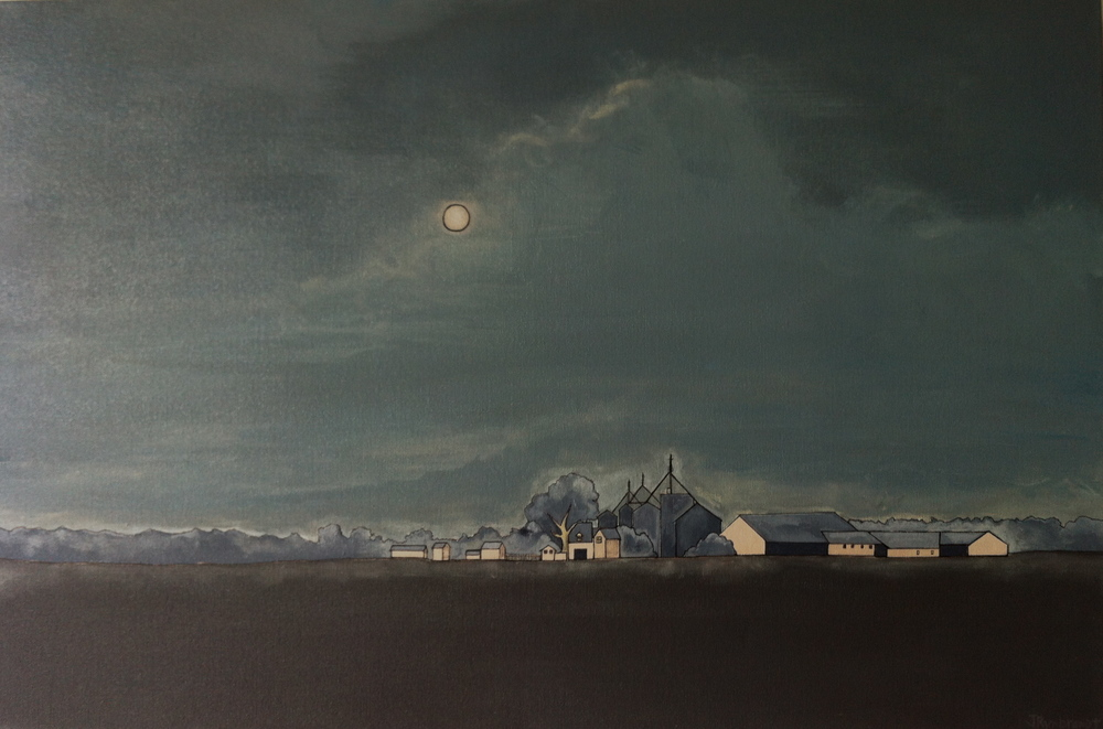 """Moonlit Dairy Farm, Baltimore County"" 2013. 24x36 SALE"