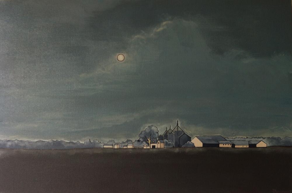"""Moonlit Dairy Farm, Baltimore County"" 2013. 24x36 SALE"