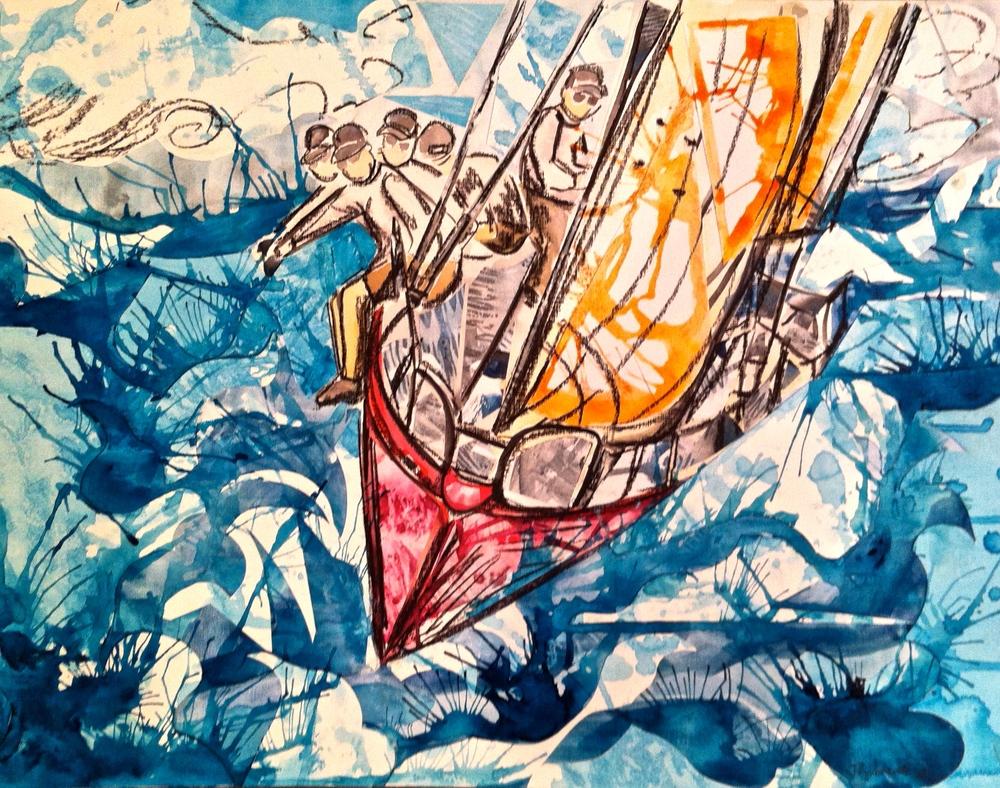 """Regatta Blue/Red 20x24"""" Framed $450"""