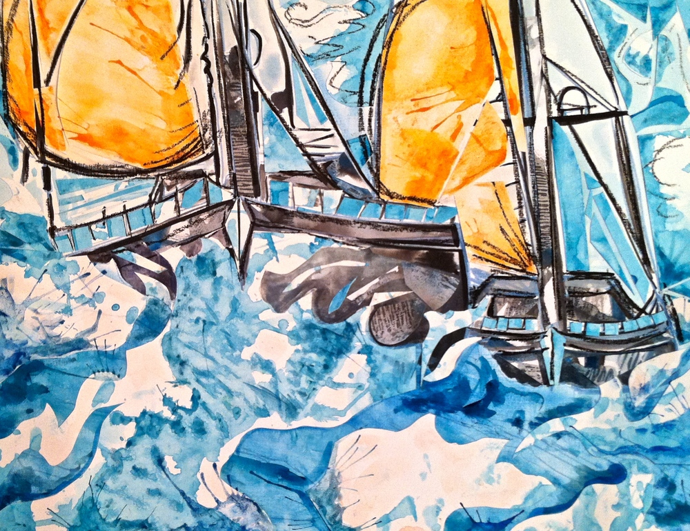 Regatta Blue/Orange 20x24 Framed $450
