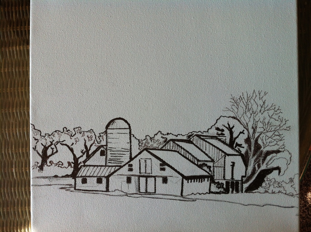 I like to use ink to sketch on the canvas because it holds up to paint better and helps me meet tighter lines.  That's imperative when executing such a trim little grouping of buildings like this one.  The farm I used for reference is always immaculate and I want that to be the case on canvas as well.