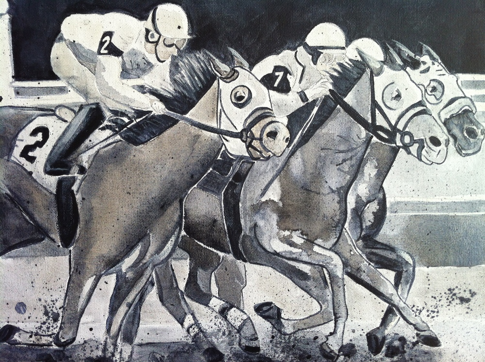 view #2, a close up of the race horses and jockeys