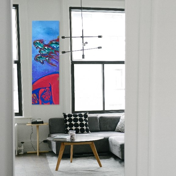 "Here's another styled room with my ""Sleeping with the Fishes"" painting enlarged to fit a midcentury modern style living area.  Thank you, Kellee!"