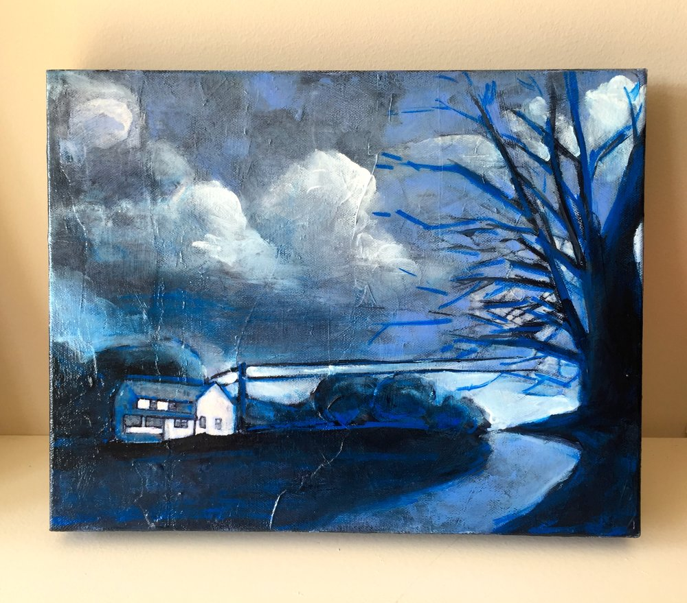"""Bright Night Across the Street""...headed to West Annapolis Art Works this evening with two others for a Nocturne themed art show!"