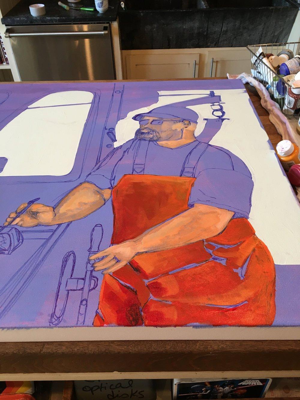 On My Easel  30x40 Acrylic on Canvas