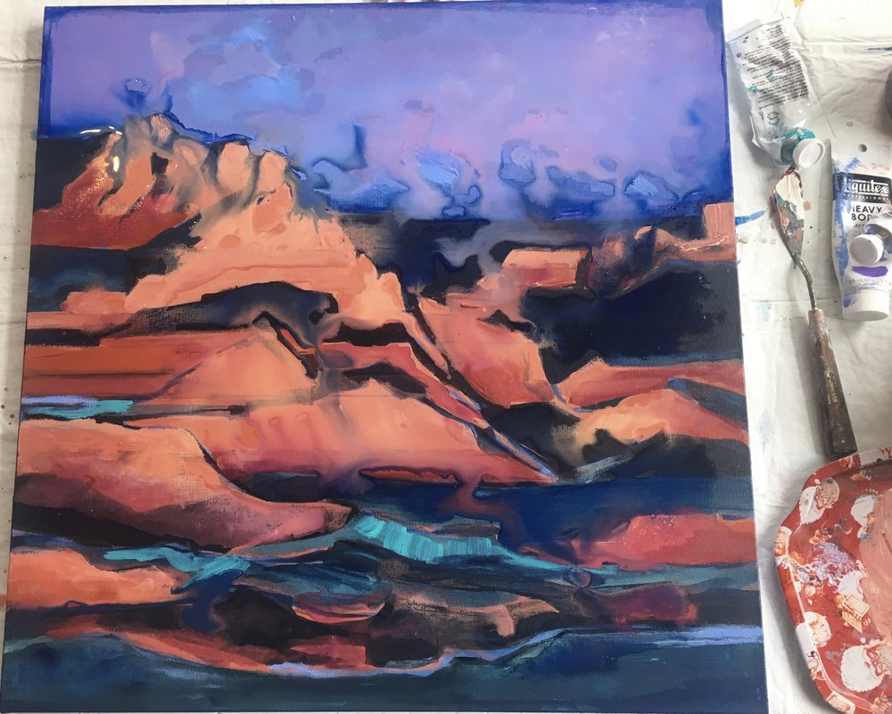 "On My Easel, ""Hurricane, Utah"" (in progress)"